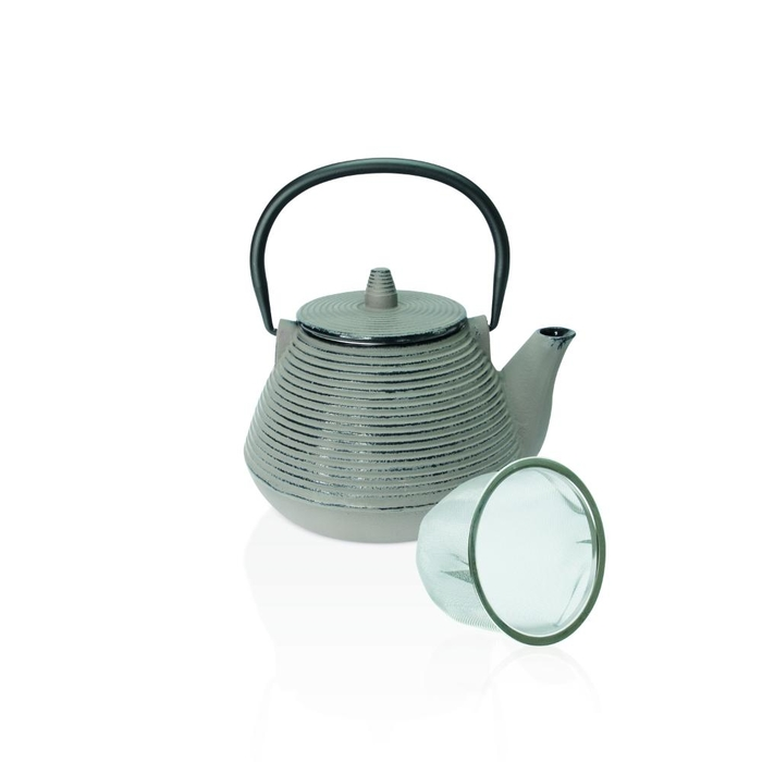 High cast iron teapot with filter silver grey 1l