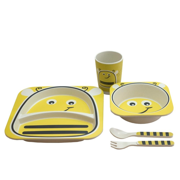 Set with plate, bowl, cup and cutlery in bamboo fiber bumblebee