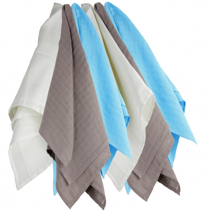 TROIS KILOS SEPT - PACK OF 6 SWADDLES HYDRO 70X70 CM BROWN/TURQUOISE/WHITE