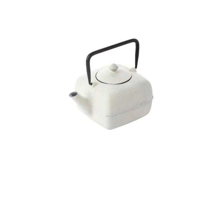 Cast iron teapot with filter square white 1l