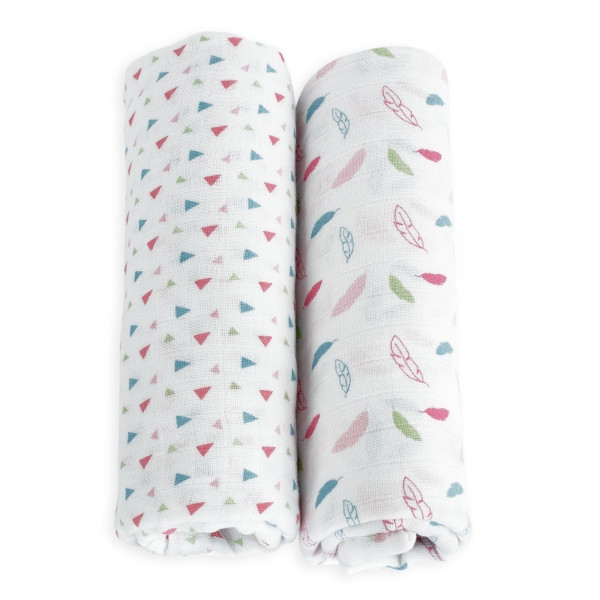 TROIS KILOS SEPT - PACK OF 2 SWADDLES 115X115 CM IN MUSLIN PINK