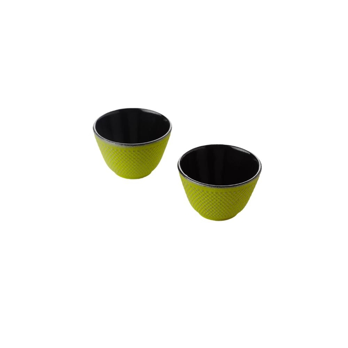 Set of 2 cast iron tea cups silver green 120ml
