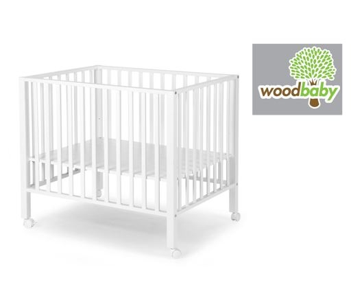 WOODBABY - PLAYPEN BEECH WHITE 75x95+wheels