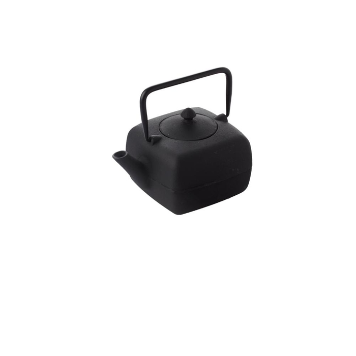 Cast iron square teapot with filter black 1l