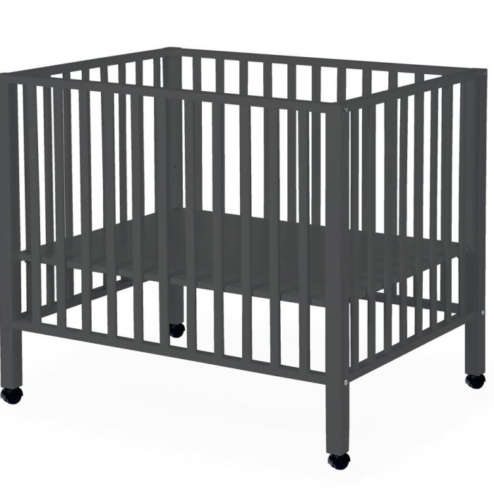 WOODBABY - PLAYPEN BEECH ANTHRACITE 75x95+wheels