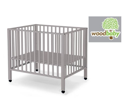 WOODBABY - PLAYPEN BEECH STONE GREY 75x95+wheels
