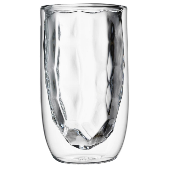 Elements set of 2 double-walled glasses metal 350ml