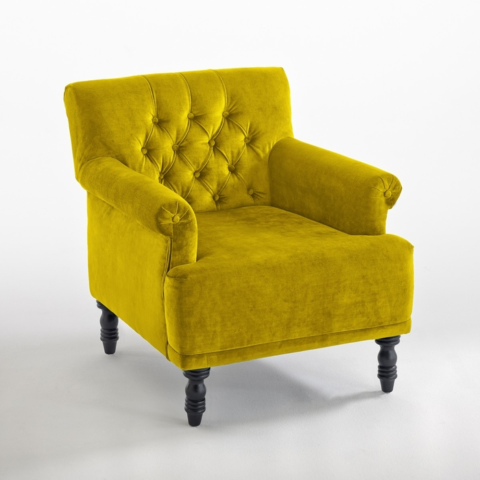 Fauteuil velours Napold 1 place Jaune moutarde