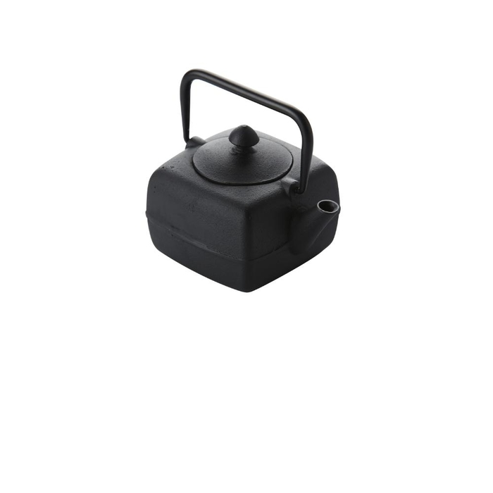 Square cast iron teapot with filter black 400ml