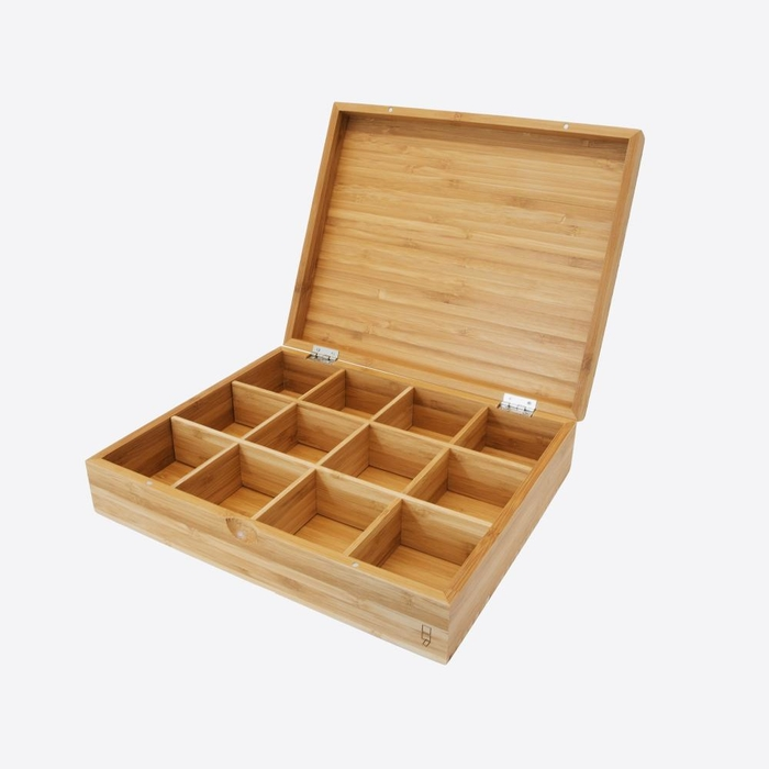 Bamboo tea box with 12 compartments